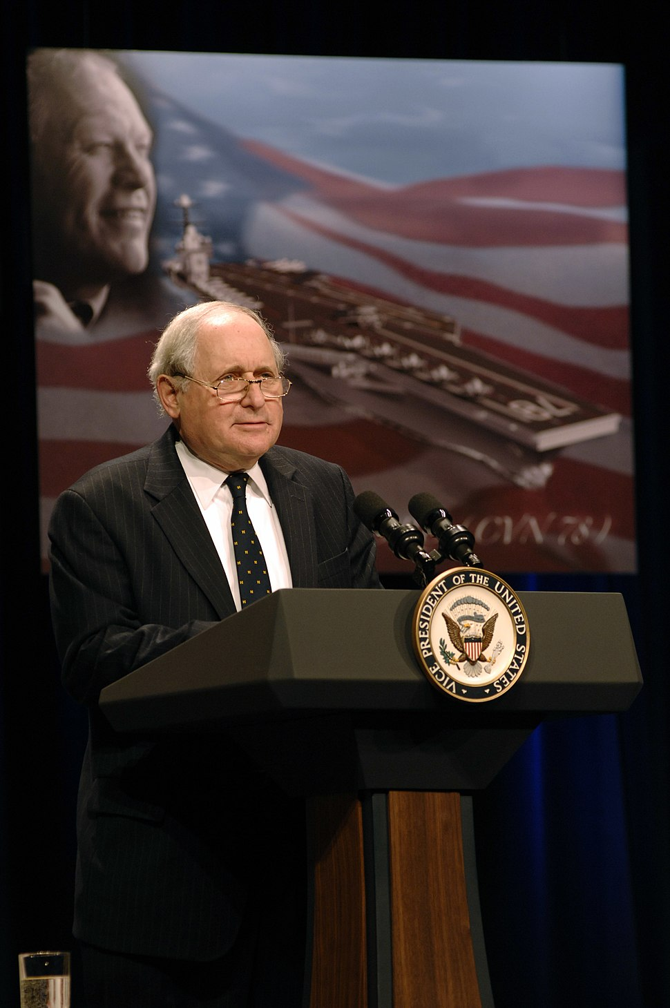 US Navy 070116-N-3642E-104 Sen. Carl Levin speaks to an audience of 300 during the official naming ceremony of the USS Gerald R. Ford (CVN 78), the first aircraft carrier in the Ford class of carriers