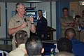 US Navy 070605-N-6081J-066 Commander, U.S. Fleet Forces Command (FFC), Adm. Gary Roughead, speaks with Sailors aboard the Military Sealift Command (MSC) hospital ship USNS Comfort (T-AH 20) during a pre-deployment visit.jpg