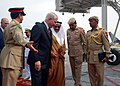 US Navy 071206-N-7095C-001 U.S. Secretary of Defense Robert M. Gates meets Bahrain Lt. Gen. Dr. Mohammed Al-Khalifa, minister of state for defense affairs, who welcomed Gates upon his arrival in Bahrain.jpg