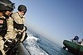 US Navy 080206-N-2420K-101 Damage Controlman 3rd Class Matthew Villafuerte, left, and Chief Gunner's Mate Curtis Staybrook, both members of the guided-missile frigate USS Ingraham (FFG 61) visit, board, search and seizure team.jpg