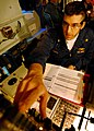 US Navy 080216-N-5476H-054 Lt. Cmdr. Andrew Bates operates the radar system control in the combat information center during a ballistic missile defense drill aboard the Ticonderoga-class guided-missile cruiser USS Lake Erie (CG.jpg