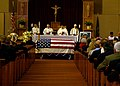 US Navy 081208-N-9604C-002 Family and Friends pay respect to the fourth Master Chief Petty Officer of the Navy, Thomas Sherman Crow, during a funeral at Marine Corps Air Station Miramar.jpg