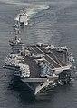 US Navy 110126-N-7981E-365 The Nimitz-class aircraft carrier USS Carl Vinson (CVN 70) leads the Ticonderoga-class guided-missile cruiser USS Bunker.jpg
