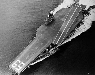 USS Forrestal (CV-59) - Forrestal undergoing sea trials, 29 September 1955