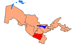Map of Uzbekistan, location of Qashqadaryo Region highlighted