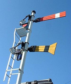 Japanese railway signals - Image: Udegishiki Tokushima