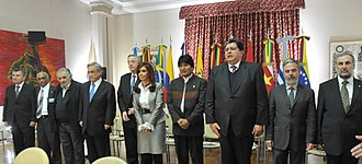 2010 Ecuador crisis - UNASUR Member States presidents and representatives at the Buenos Aires emergency summit. Juan Manuel Santos (Colombia) and Hugo Chávez (Venezuela) were in flight to Buenos Aires, and arrived hours later.