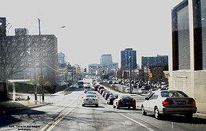 University Hill, Syracuse - Traffic leaving University Hill towards Interstate 81 and Downtown