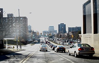 University Hill, Syracuse - Traffic leaving University Hill towards Interstate 81 and Downtown (2005)