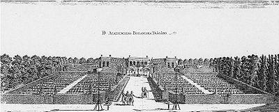 Ο βοτανικός κήπος της Ουψάλας, σε χαρακτηκή της εποχής