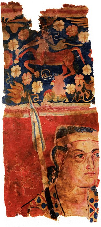 Silk Road - Probable Greek soldier with a Greek mythological centaur in the Sampul tapestry, woollen wall hanging, 3rd–2nd century BCE, Sampul, Urumqi Xinjiang Museum, China.