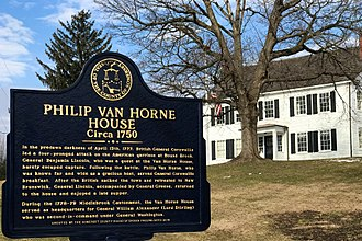 Battle of Bound Brook - Image: Van Horne House, Bridgewater Township, NJ information sign