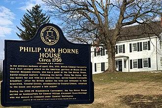 Battle of Bound Brook - Image: Van Horne House, Bridgewater Township, NJ information sign