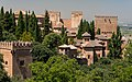 Various roofs and towers of Alhambra, from Generalife gardens, Granada, Spain.jpg