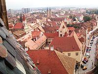 Vedere din turnul bisericii evanghelice - Sibiu