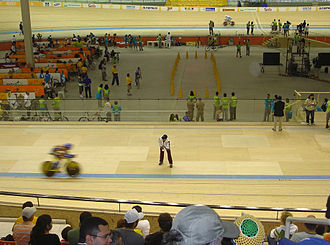 Rio Olympic Velodrome - Interior view of the Barra Velodrome, a predecessor venue that was planned to hold Olympic cycling events, but was deemed unsuitable by the International Cycling Union.