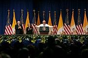 Vice President Cheney Pope Benedict XVI on stage