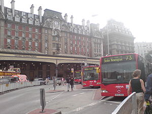 Victoria, London - The bus station at Victoria in 2007, with three bendy buses loading up. (Not to be confused with Victoria Coach Station).