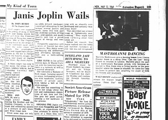 Janis Joplin - Newspaper review of Joplin's 1969 concert at Vets Memorial Auditorium in Columbus, Ohio includes the fact that before it started she walked to the lobby and watched audience members arrive.
