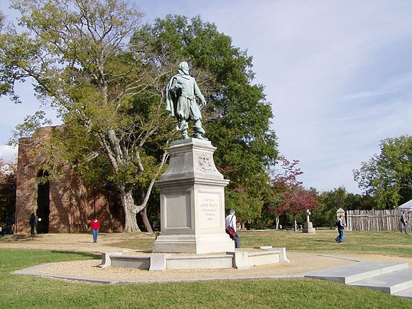 Statue of John Smith for the first English settlement in Historic Jamestowne, Virginia. View of James Town Island, Captain John Smith Statue.jpg