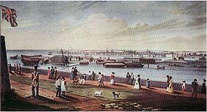 Kingston Royal Naval Dockyard - View of Kingston Naval Dockyard from Fort Henry 1820s.