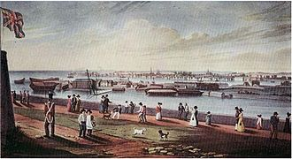 Kingston Royal Naval Dockyard - View of Kingston Naval Dockyard from Fort Henry 1820s.
