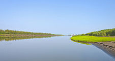 View up Mackenzie River east channel to Inuvik, NT.jpg