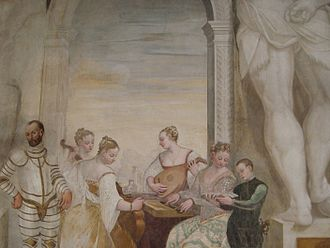 Palladian villas of the Veneto - The frescoes in the Villa Caldogno main hall depict the different moments of the life in villa at Palladio's age