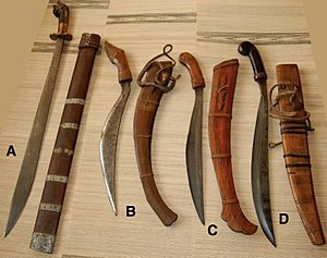 Filipino martial arts - Traditional bolos from the Visayas (ginunting on the left, and three talibongs).