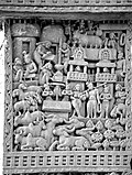 Visit of Indra and Brahma to the Buddha Sanchi Stupa 1 Eastern Gateway Left pillar Inner top panel.jpg