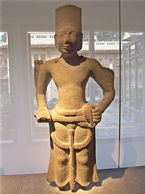 Óc Eo -  This statue of Visnu, Hindu deity of Indian-origin religion, from the 6th or 7th century AD was found in Óc Eo and is now housed in the Museum of Vietnamese History.