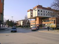 Building on right side of picture was former center of once mighty company Velepromet from the time of socialist Yugoslavia