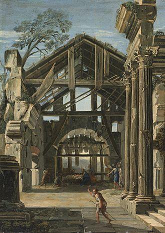 Viviano Codazzi - The Nativity in an ancient ruin