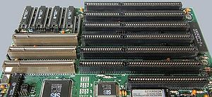 "VESA Local Bus - VLB (longer, with brown ""extensions"") and ISA (shorter, black) slots on a computer motherboard"