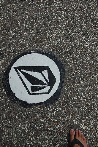 Volcom - Street art featuring the Volcom logo.