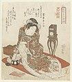 Vrouw met klok Elegante vrouwen als de helden van de Suikoden - uit een serie van Honderd en acht (serietitel) Fûzoku onna Suikoden - Hyakuhachiban no uchi (serietitel op object), RP-P-1958-494.jpg