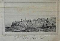 Vue de l'etablissement russe de la Bodega, à la Côte de la Nouvelle Albion, en 1828.jpg