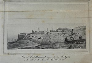 Fort Ross, California - A view of Fort Ross in 1828 by A. B. Duhaut-Cilly. From the archives of the Fort Ross Historical Society