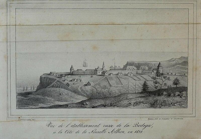 Vue de l%E2%80%99etablissement russe de la Bodega, %C3%A0 la C%C3%B4te de la Nouvelle Albion, en 1828.jpg