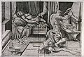 Vulcan forges metal chains while Venus sleeps. Engraving by Wellcome V0039206.jpg