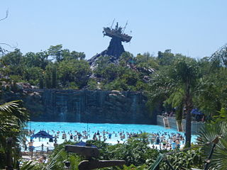 Water park amusement park that features pools with water play areas
