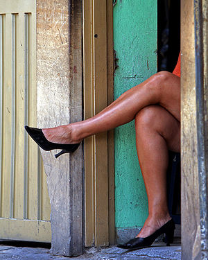 English: Prostitute waiting for customers. Esp...