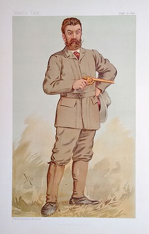 "Walter W. Winans - ""The Record Revolver Shot"". Caricature by Spy published in Vanity Fair in 1893."