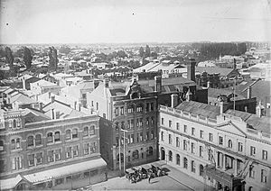 Fred Hobbs - Cathedral Chambers, the Lyttelton Times Building, and Warner's Hotel (from left) in circa 1910