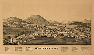 Hamlet of Warrensburgh Historic District - Lithograph of Warrensburgh published by L.R. Burleigh 1891 with list of landmarks