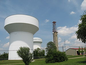 Clearcreek Township, Warren County, Ohio - The two water towers at Five Points, the highest point in Warren County