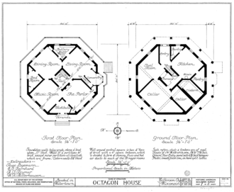 Octagon House (Watertown, Wisconsin) - Image: Watertown Octagon House plans