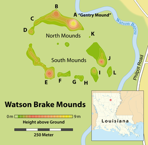 Watson Brake - Schematic plan of the Watson Brake Site