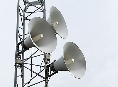 White noise - Horn loudspeakers at Brastad soccer arena