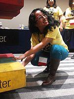 Wikimania 2015-Wednesday-Volunteers play Weasel-Jenga (15).jpg